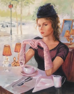 Cafe Society, Impressionist Portrait, Original Oil Painting