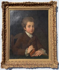 Early 19th century Portrait of a Young boy, with powdered wig holding a book.