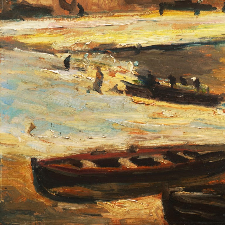 'Fishing Boats on the Beach', Impressionist Oil, Charles Durand-Ruel, Paris  - Painting by French School