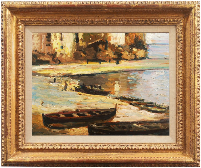 'Fishing Boats on the Beach', Impressionist Oil, Charles Durand-Ruel, Paris  For Sale 2