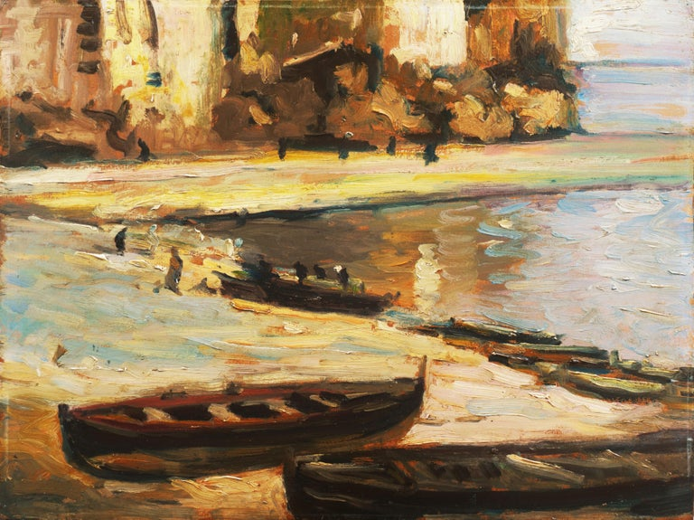 French School Landscape Painting - 'Fishing Boats on the Beach', Impressionist Oil, Charles Durand-Ruel, Paris
