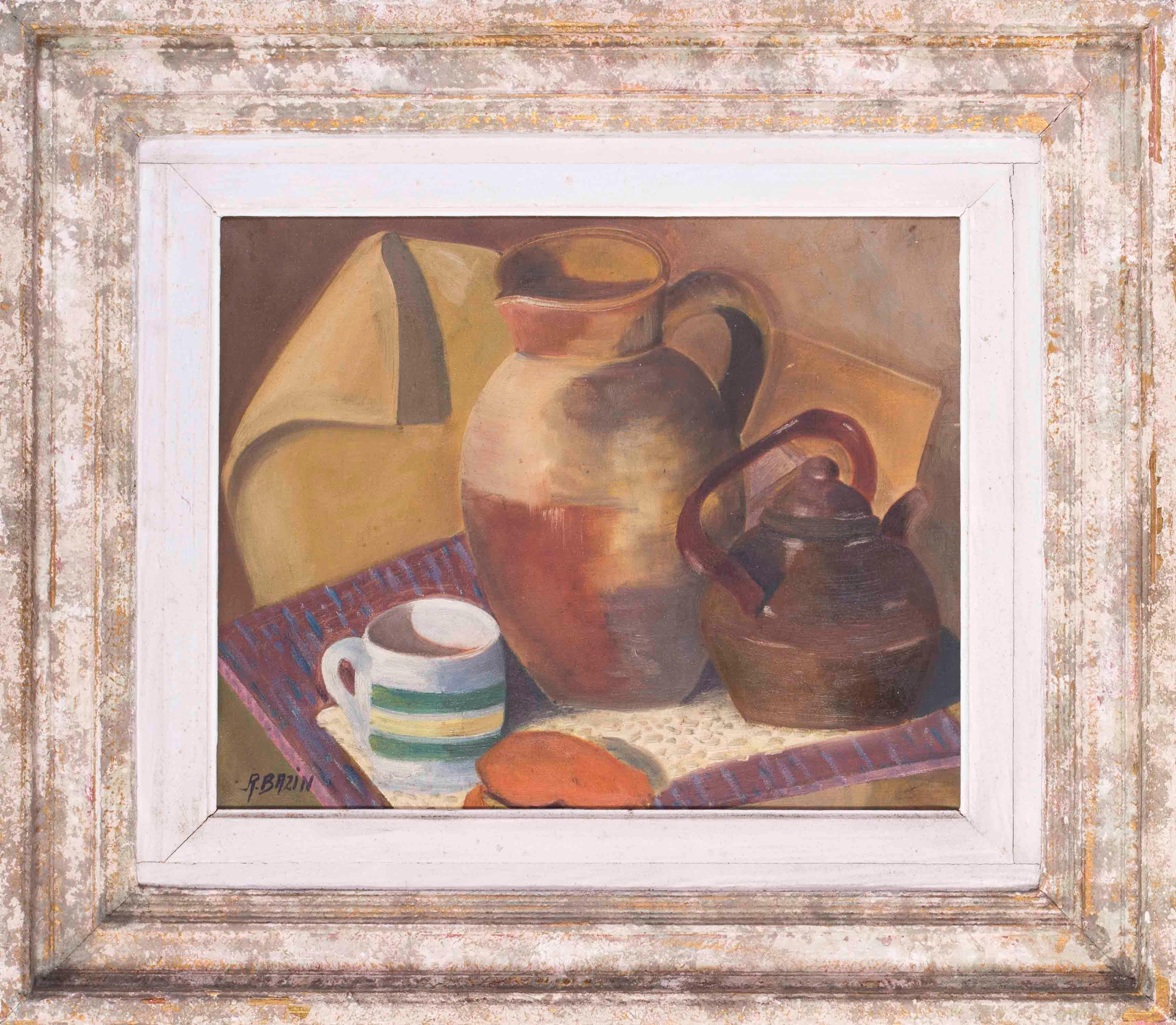 French 20th Century Post Impressionist still life of kettle, cup and jug
