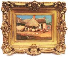 French Farmyard (Rural, Post-Impressionist, Genre, farm, Chickens, Pigs)