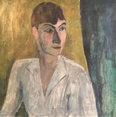 Impressionist Portrait, Picasso Style, Original Oil Painting, Signed
