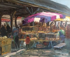 Le Marche de Bachy, French Market, Signed Oil Painting