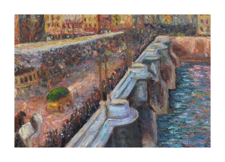 Le Market et Pont Neuf - Painting by French School