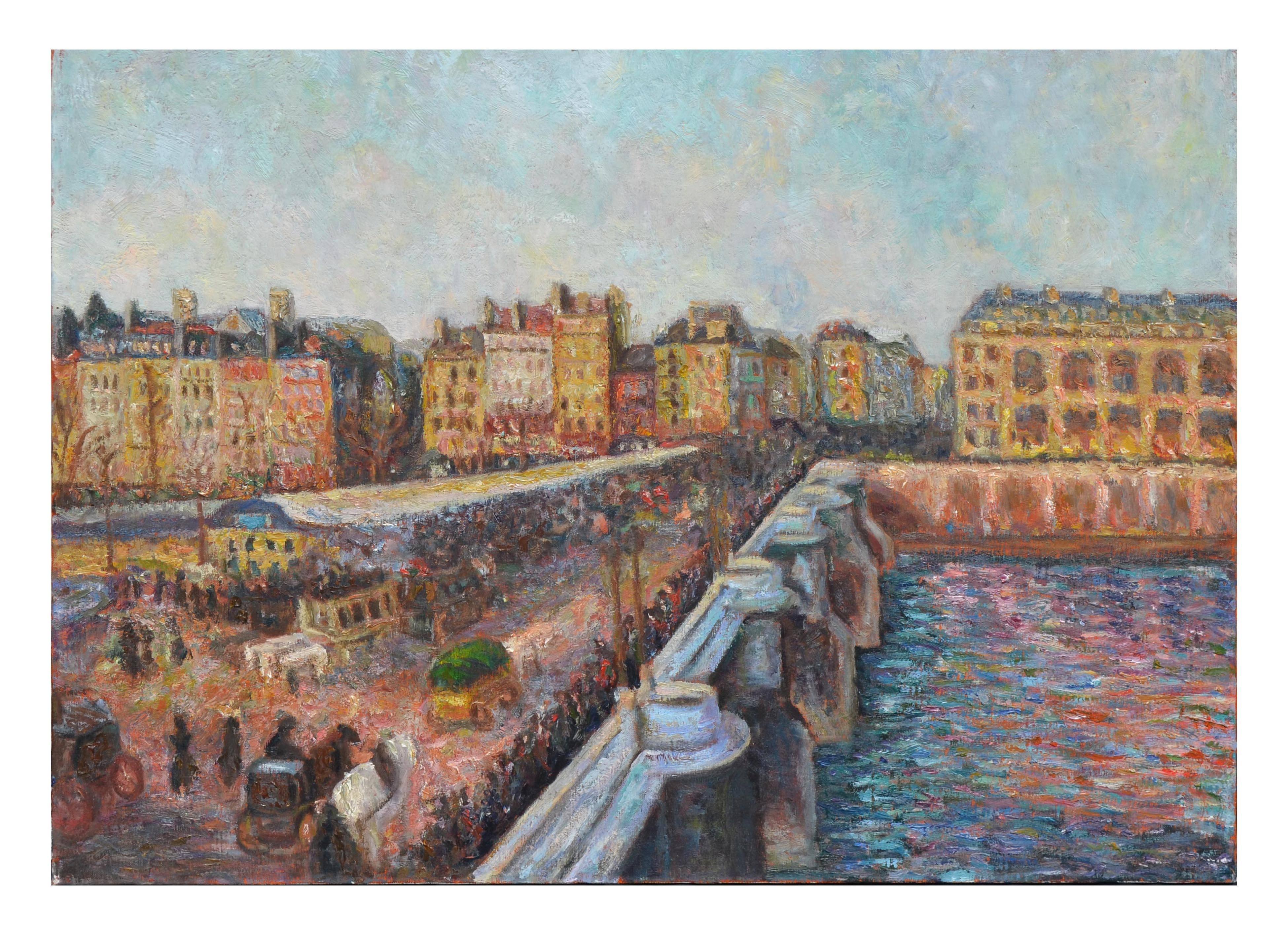 Le Market et Pont Neuf - Mid Century French Impressionist Figurative Landscape