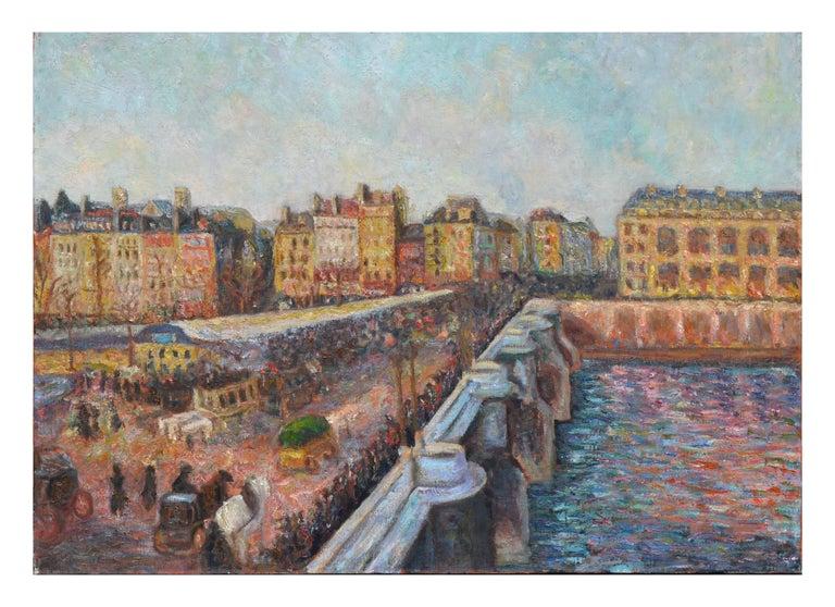 French School Figurative Painting - Le Market et Pont Neuf