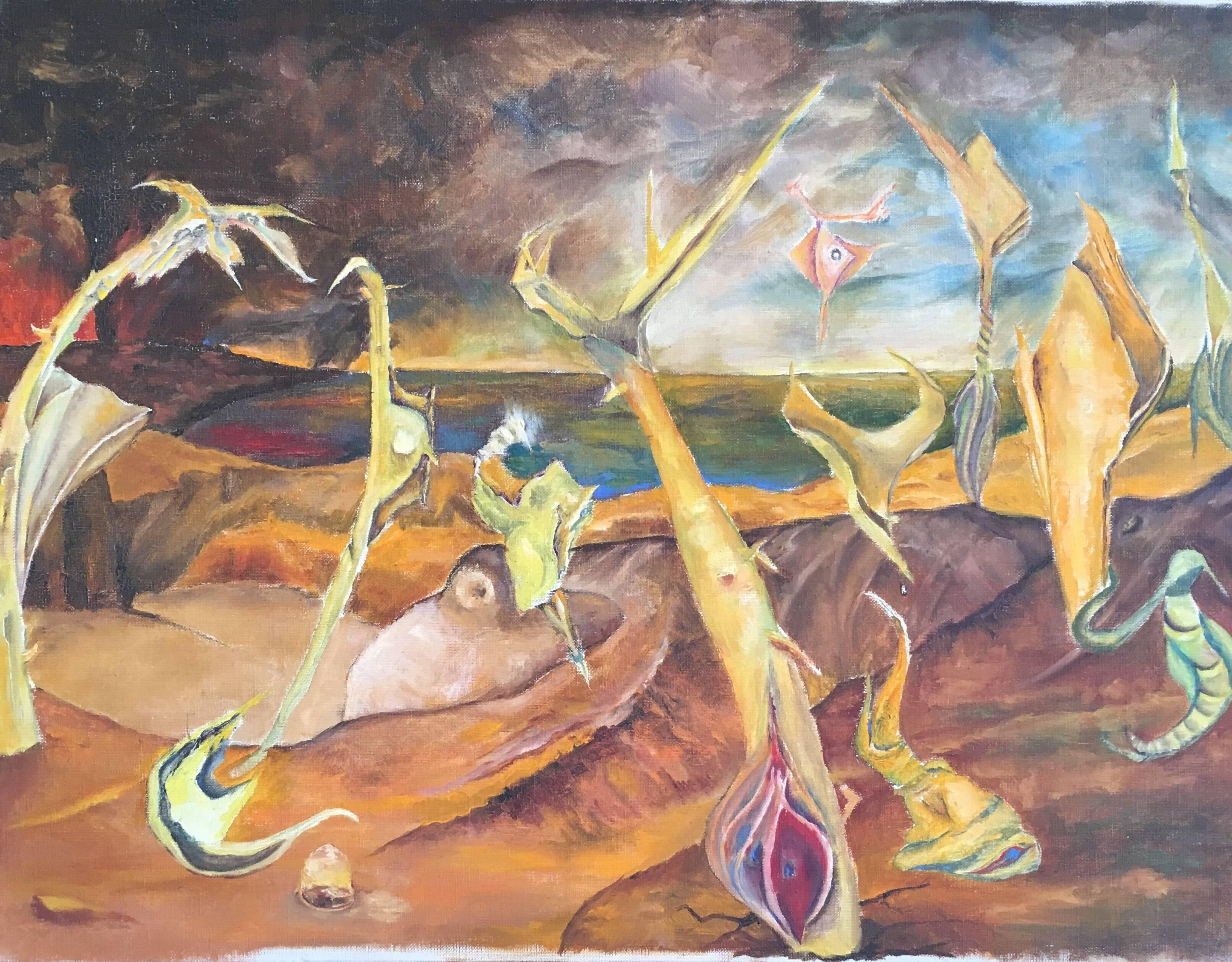 Mid 20th century French Surrealist Oil Painting