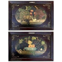 Pair of French Vineyard Wine Paintings