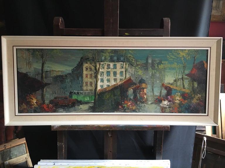 Parisian Flower Market, Large Impressionist Landscape, Oil Painting - Black Landscape Painting by Unknown