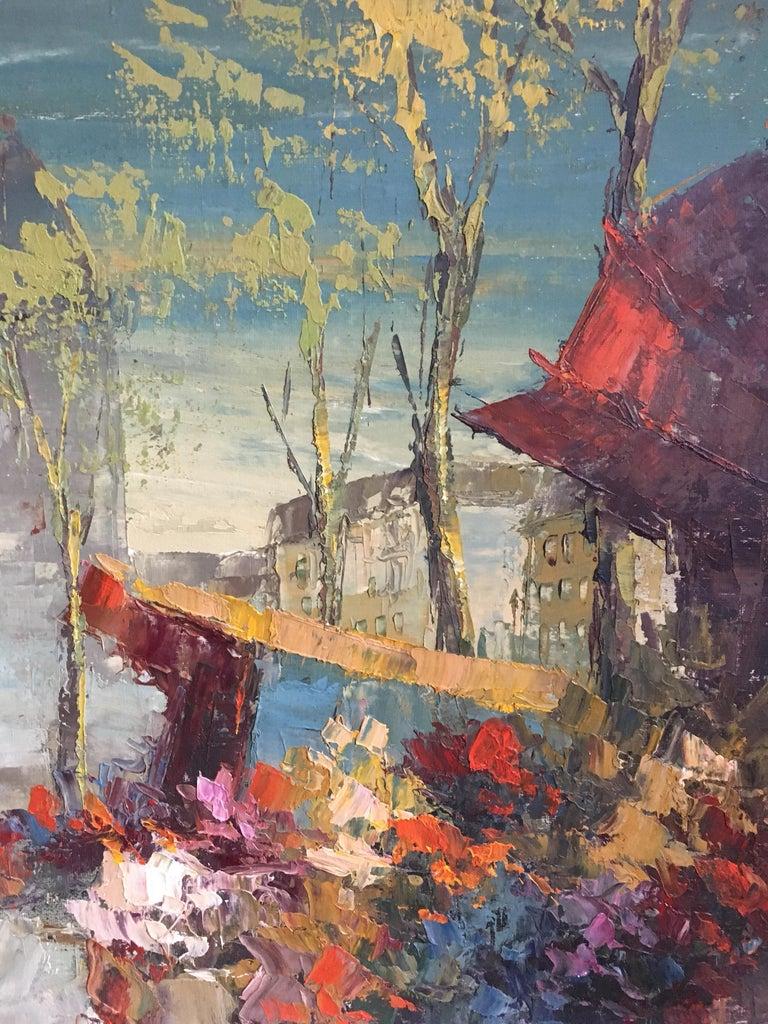 Parisian Flower Market, Large Impressionist Landscape, Oil Painting For Sale 1