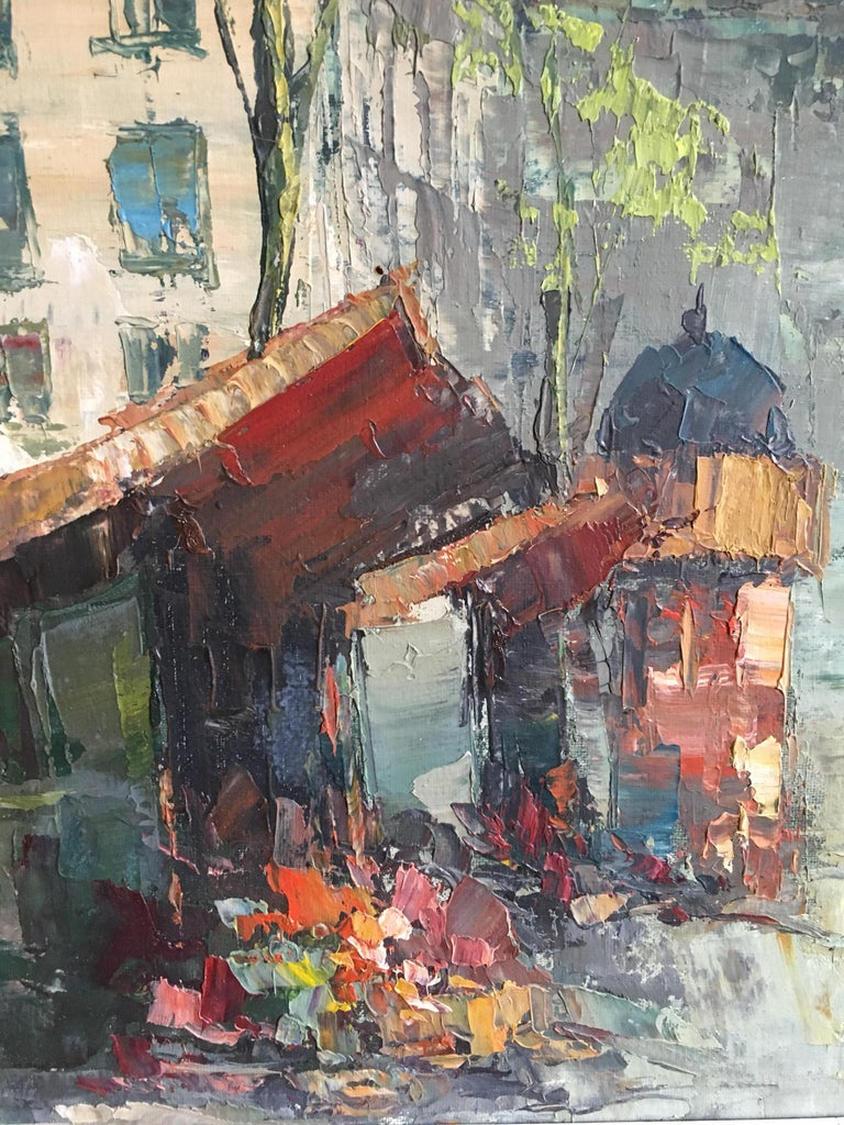 Parisian Flower Market, Large Impressionist Landscape, Oil Painting For Sale 2