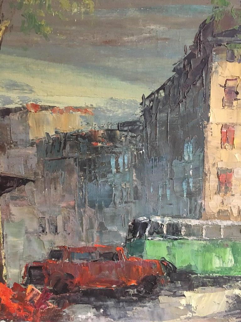 Parisian Flower Market, Large Impressionist Landscape, Oil Painting For Sale 4