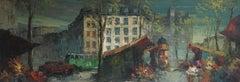 Parisian Flower Market, Large Impressionist Landscape, Oil Painting