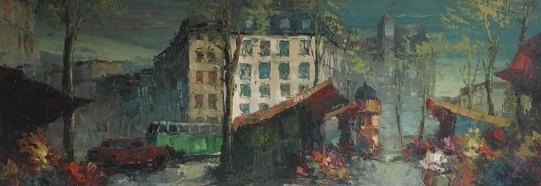 Unknown Landscape Painting - Parisian Flower Market, Large Impressionist Landscape, Oil Painting