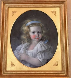 Early 19th century French Oval Portrait of a pretty Young Blonde French Girl