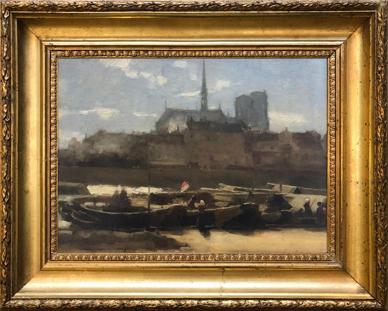 Sainte-Chapelle and Notre Dame Paris. Circa 1890 - Painting by French School