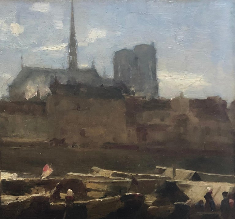 Sainte-Chapelle and Notre Dame Paris. Circa 1890 - Impressionist Painting by French School