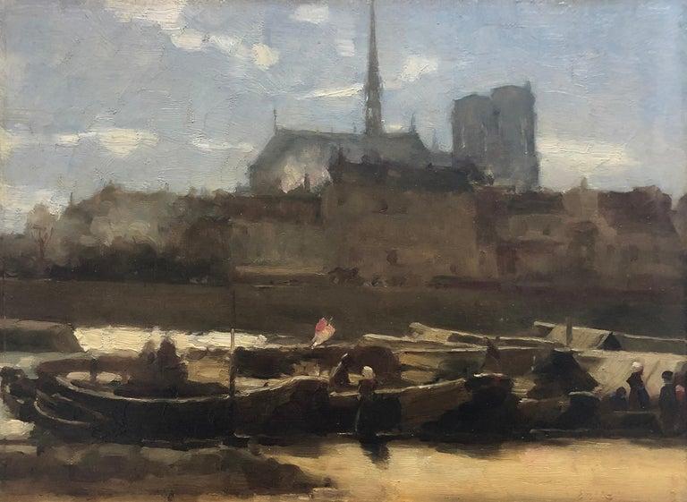 French School Landscape Painting - Sainte-Chapelle and Notre Dame Paris. Circa 1890
