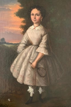 The Badminton Player 19th C. French Oil Painting Young Girl Racket & Shuttlecock
