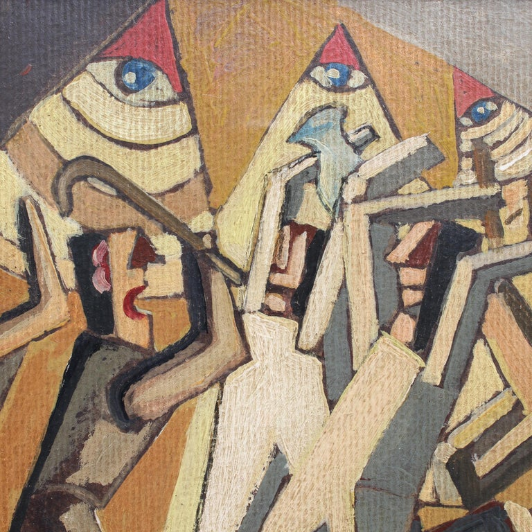 'The Eye', oil on paper, by F. DuParc (French School circa 1940s - 1960s). Once in a while this gallery comes upon a work of art that stands out even from a collection of stunning paintings. The artist pits darkly-dressed workers attacking the