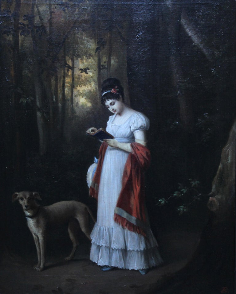 Young Woman Reading Book with Dog in Landscape - French art 19thC oil portrait - Painting by French School
