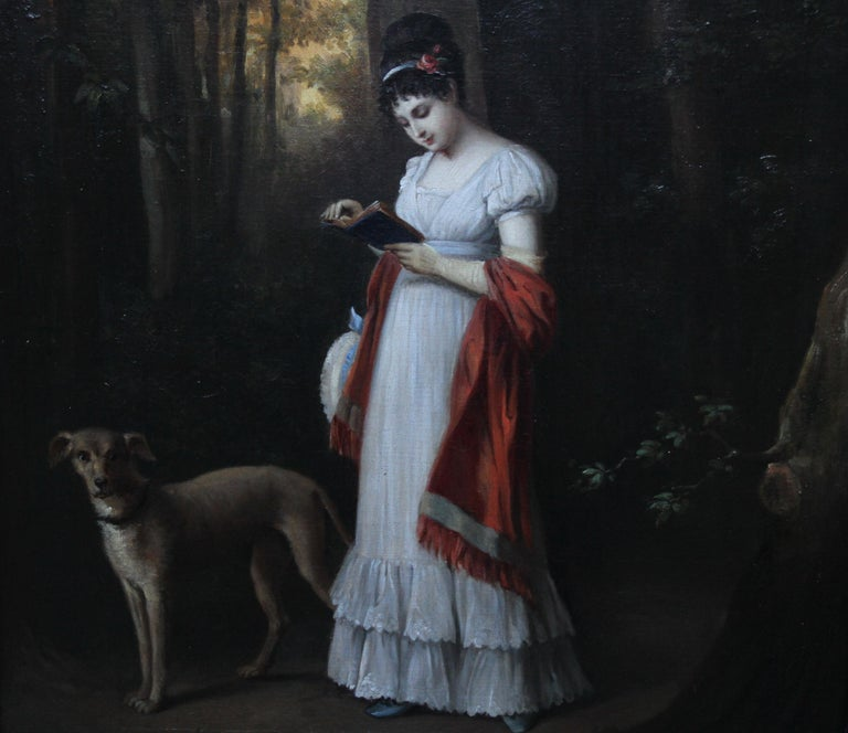 Young Woman Reading Book with Dog in Landscape - French art 19thC oil portrait For Sale 2