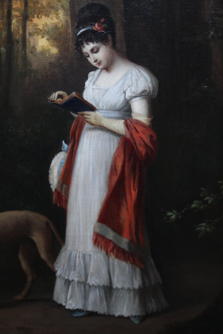 Young Woman Reading Book with Dog in Landscape - French art 19thC oil portrait For Sale 5