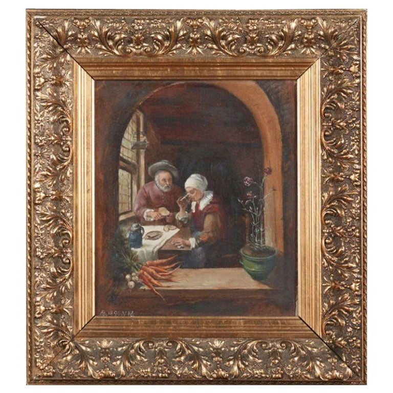 """French School, """"Peasants at the Table,"""" 1896 For Sale"""
