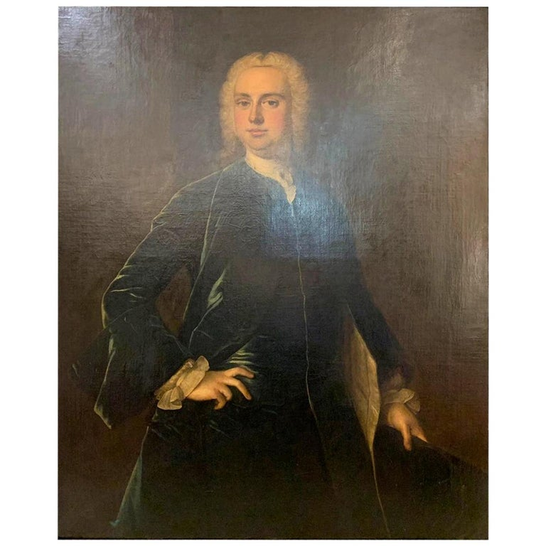 """French School """"Portrait Noble"""" 18th Century For Sale"""
