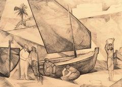 'Fishermen Mending Nets', Musée du Louvre, Art Deco Copper Engraving