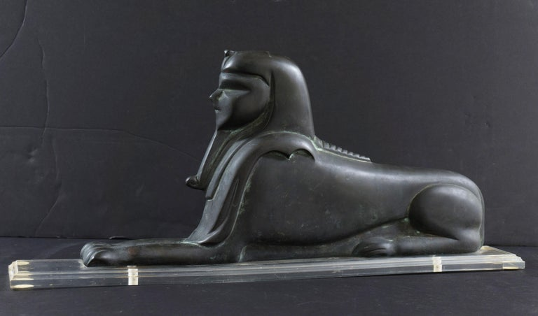 'Bronze Art Deco Sphinx', Large French 1930's Lost Wax Sculpture For Sale 3