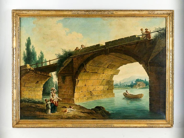 French School, The Footbridge in Ruin to the manner of Hubert Robert, circa 1820  An interesting and ornamental oil on canvas, interpretation of the painting