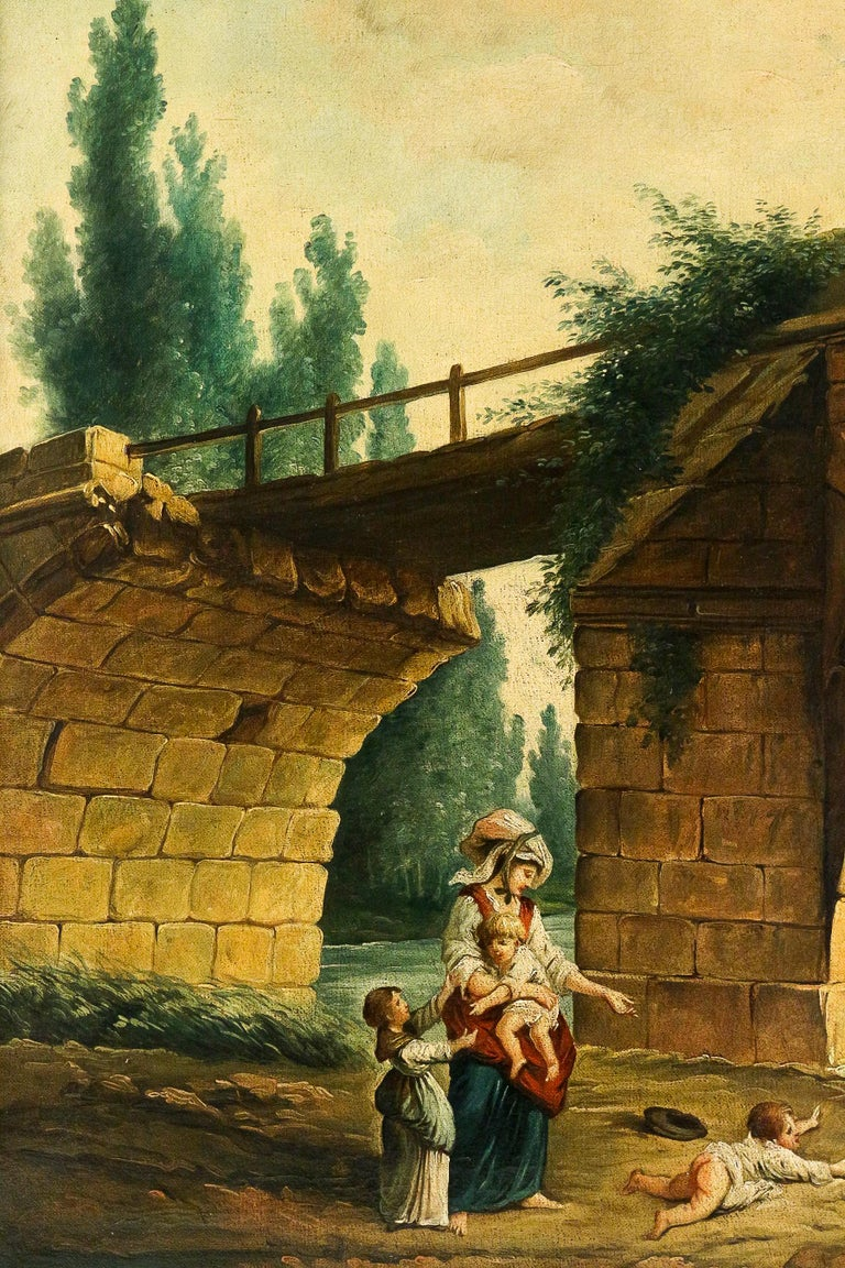 French School, the Footbridge in Ruin to the Manner of Hubert Robert, circa 1820 In Good Condition For Sale In Saint Ouen, FR