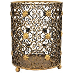 French Scrollwork Waste Basket Bin in Gilt Wrought Iron with Star Accents