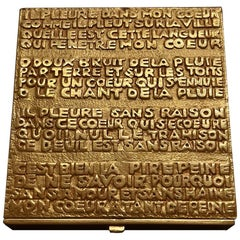 French Sculpted Bronze Box with Poem by Line Vautrin