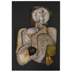 French Sculptural Ceramic Raku Panel, 1990s