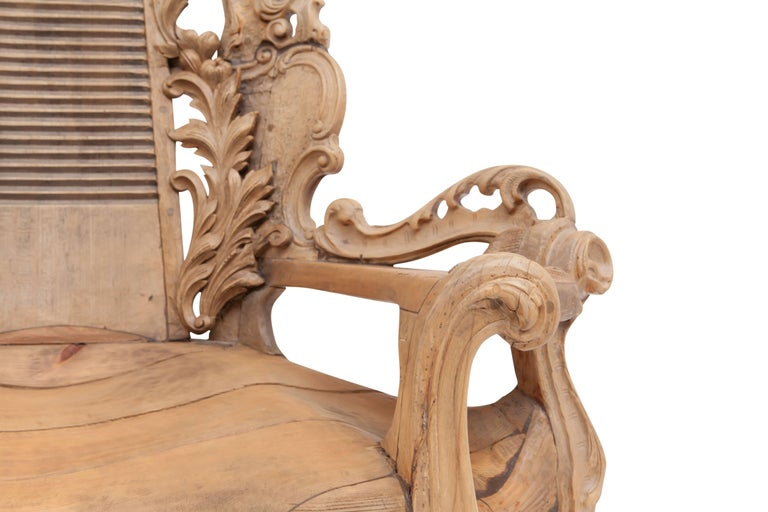 Wood French Sculptural Oak Throne Chair For Sale
