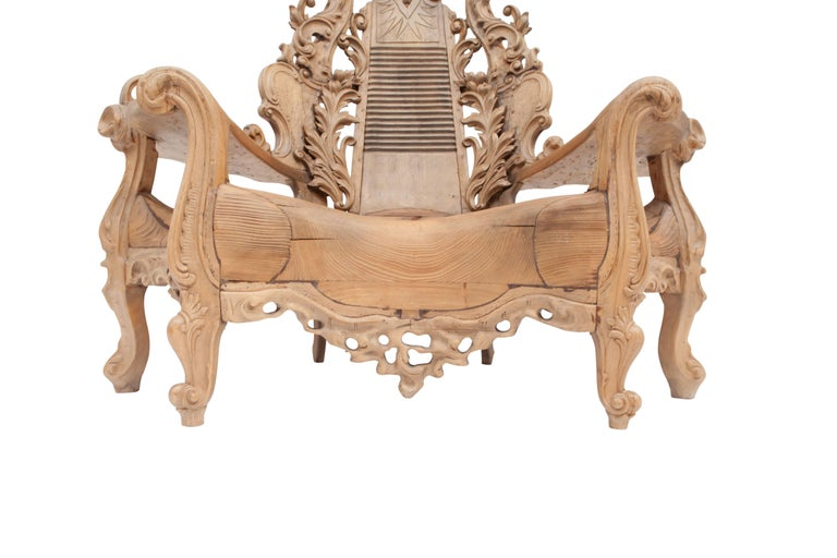 French Sculptural Oak Throne Chair For Sale 1