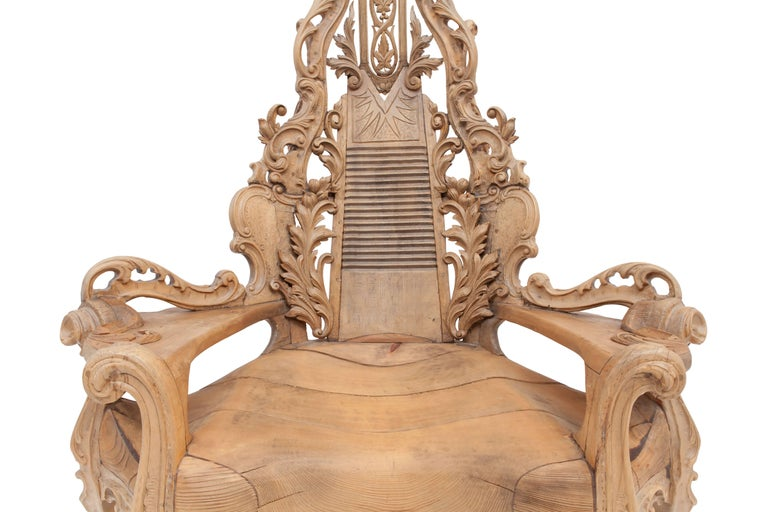 French Sculptural Oak Throne Chair For Sale 2