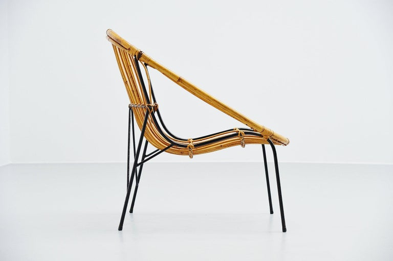 Cold-Painted French Sculptural Rattan Lounge Chair, France, 1950 For Sale
