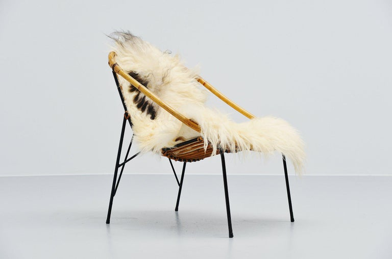Mid-20th Century French Sculptural Rattan Lounge Chair, France, 1950 For Sale