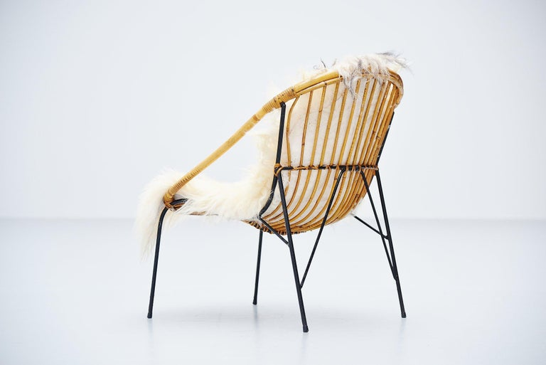 Metal French Sculptural Rattan Lounge Chair, France, 1950 For Sale