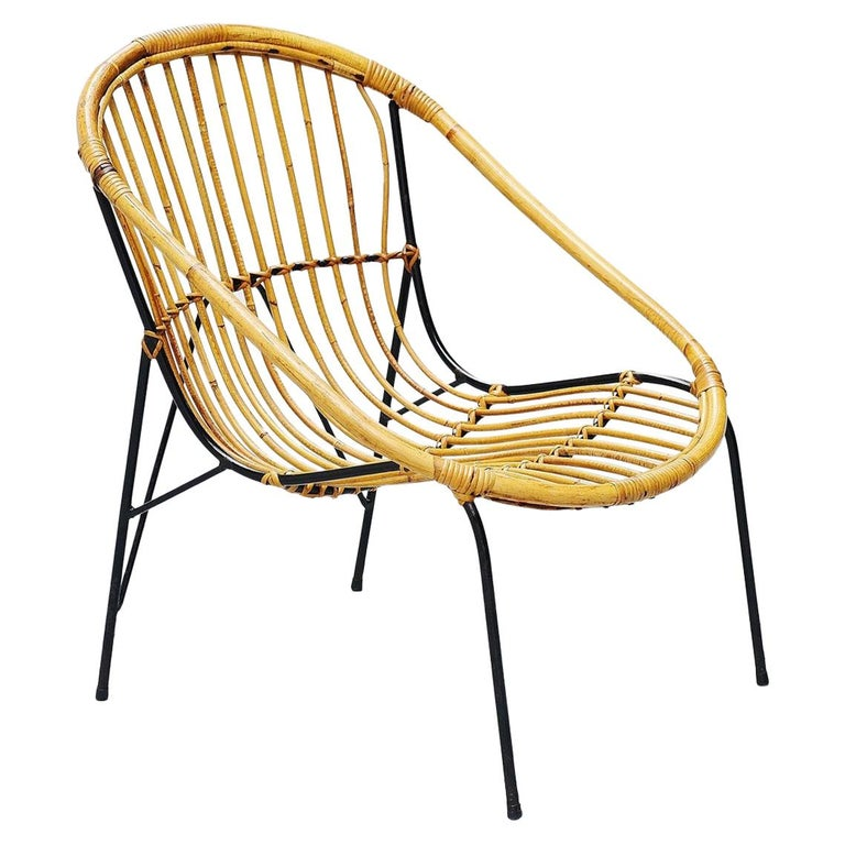 French Sculptural Rattan Lounge Chair, France, 1950 For Sale