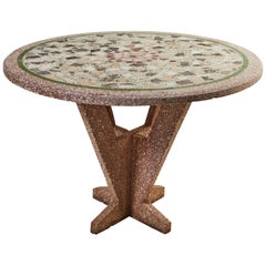 French Sculptural Round Terrazzo Table