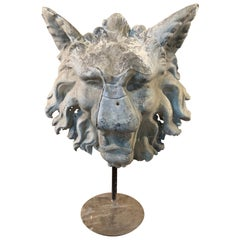French Sculpture in Zinc of a Mythical Head of a Lion-Wolf
