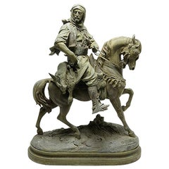 French Sculpture of an Arabian Horse Rider, Signed Barye