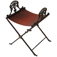 French Second Empire Period Cast Bronze X Frame Stool and Cast Iron Shaped Seat
