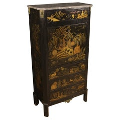 French Secrétaire Lacquered with Chinoiserie, 20th Century